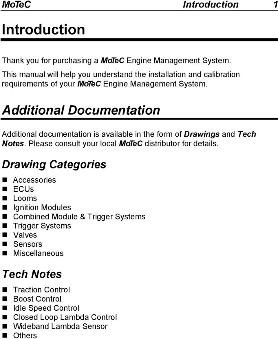 Introduction Additional Documentation1 Overview Motec Software Wiring Diagram Documentation Is Available In The Form Of Drawings And Tech Notes
