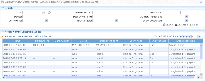 ZKAccess User Manual Clear All Event Records: Click [Clear All Event Records] to open a prompt. Click [OK] to clear records.