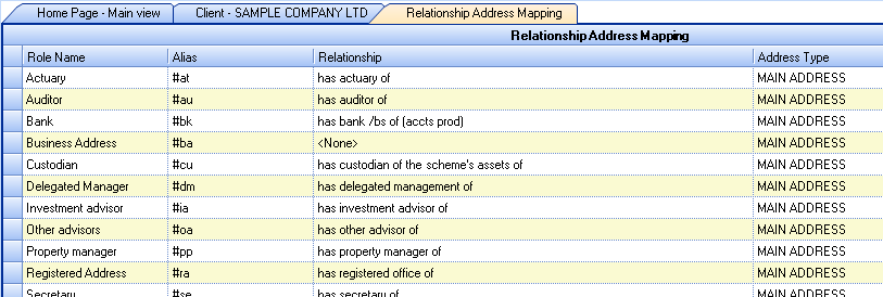 Relationship Address Mapping Grid Some relationships are fixed and at present cannot be changed, such as Has Director Of.
