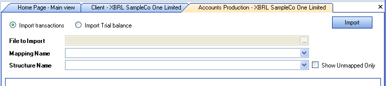 Importing data To import trial balances select Import from the CCH AP Task Bar: Importing a trial balance Import Data Window Select the Trial Balance from the drop down list, the name of the Mapping