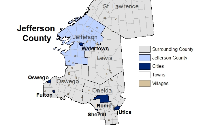 Population and Economic Factors The City of Watertown, population 27,023, is located in Jefferson County.