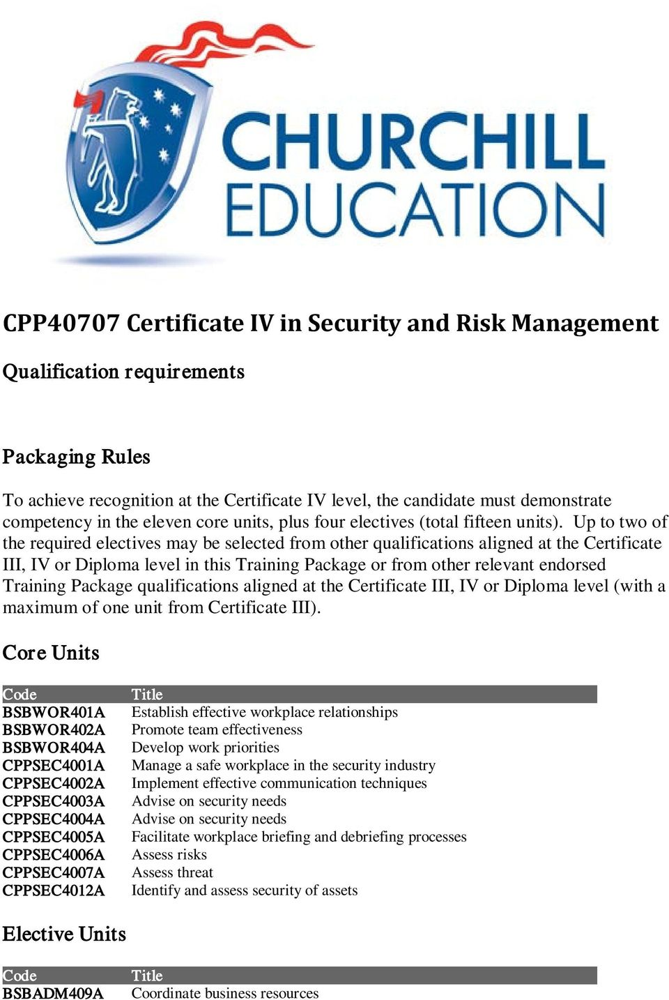 CPP40707 Certificate IV in Security and Risk Management - PDF