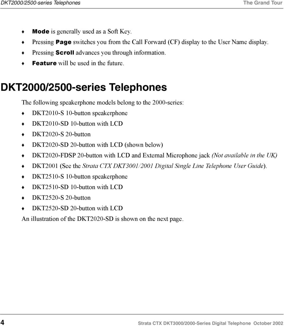 DKT2000/2500-series Telephones The following speakerphone models belong to the 2000-series: DKT2010-S 10-button speakerphone DKT2010-SD 10-button with LCD DKT2020-S 20-button DKT2020-SD 20-button