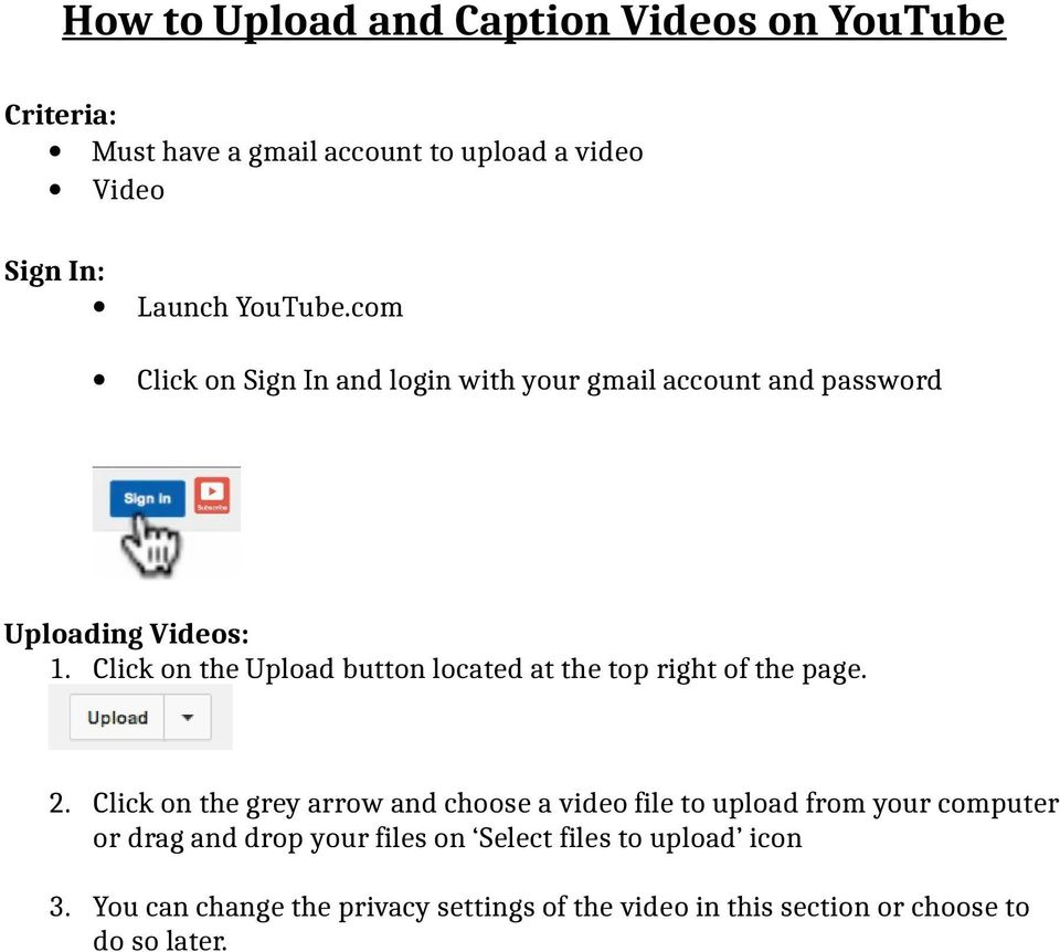 How to Upload and Caption Videos on YouTube - PDF