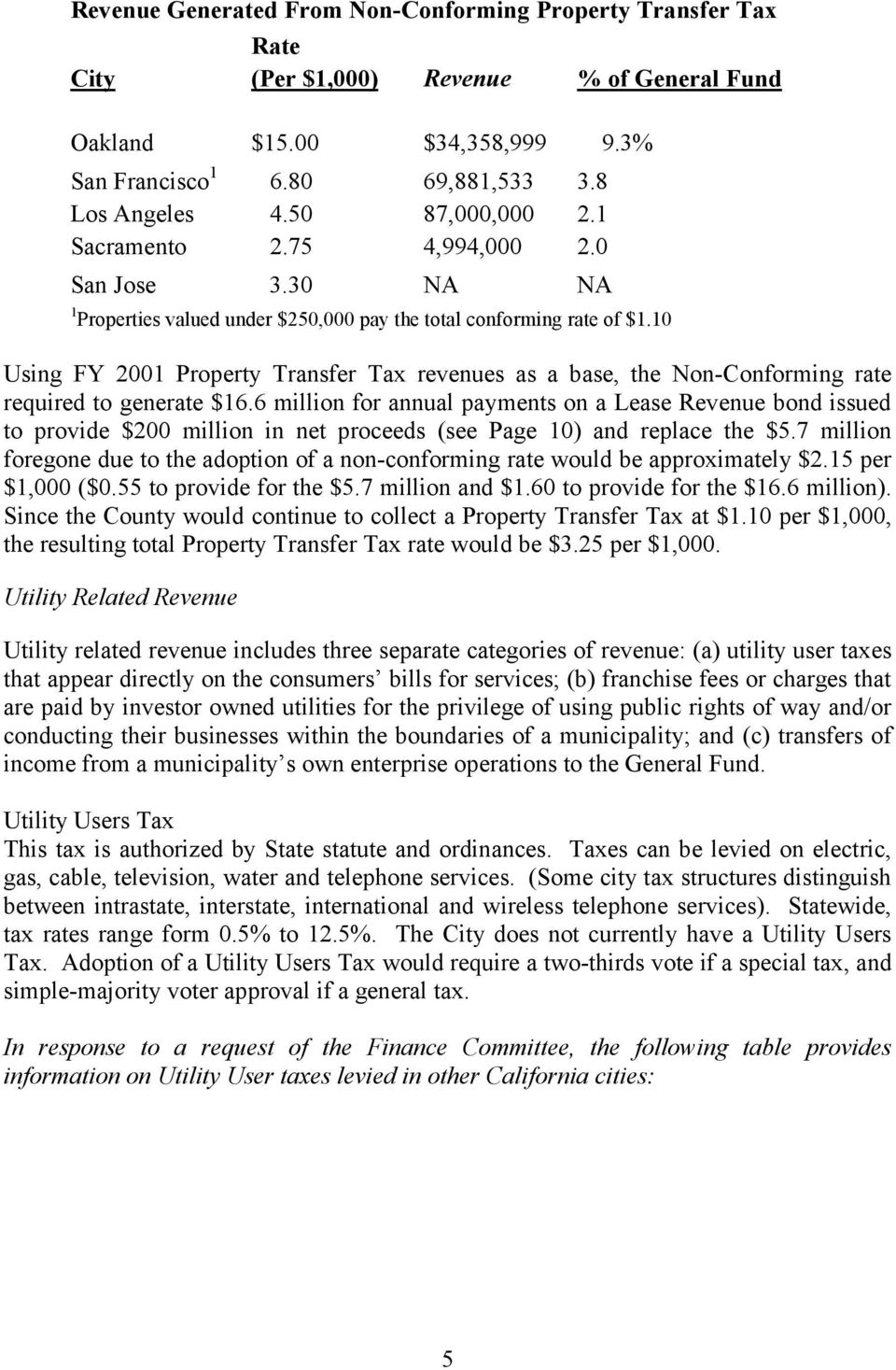 10 Using FY 2001 Property Transfer Tax revenues as a base, the Non-Conforming rate required to generate $16.