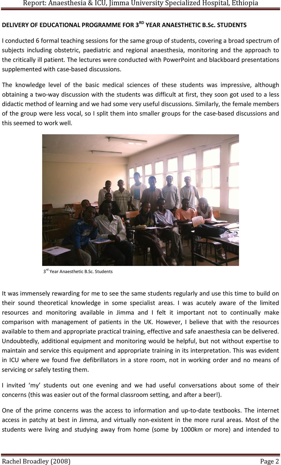 Report: Anaesthesia & ICU, Jimma University Specialized