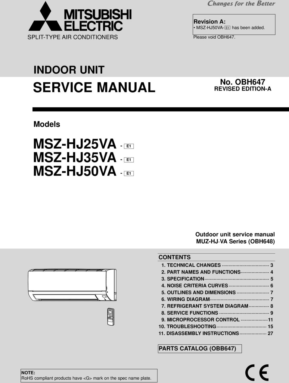 service manual msz hj25va msz hj35va msz hj50va indoor unit no rh docplayer net