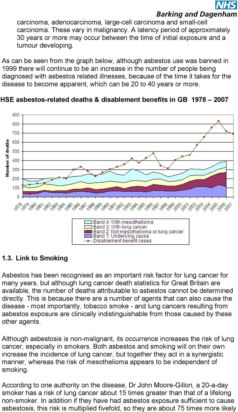 As can be seen from the graph below, although asbestos use was banned in 1999 there will continue to be an increase in the number of people being diagnosed with asbestos related illnesses, because of