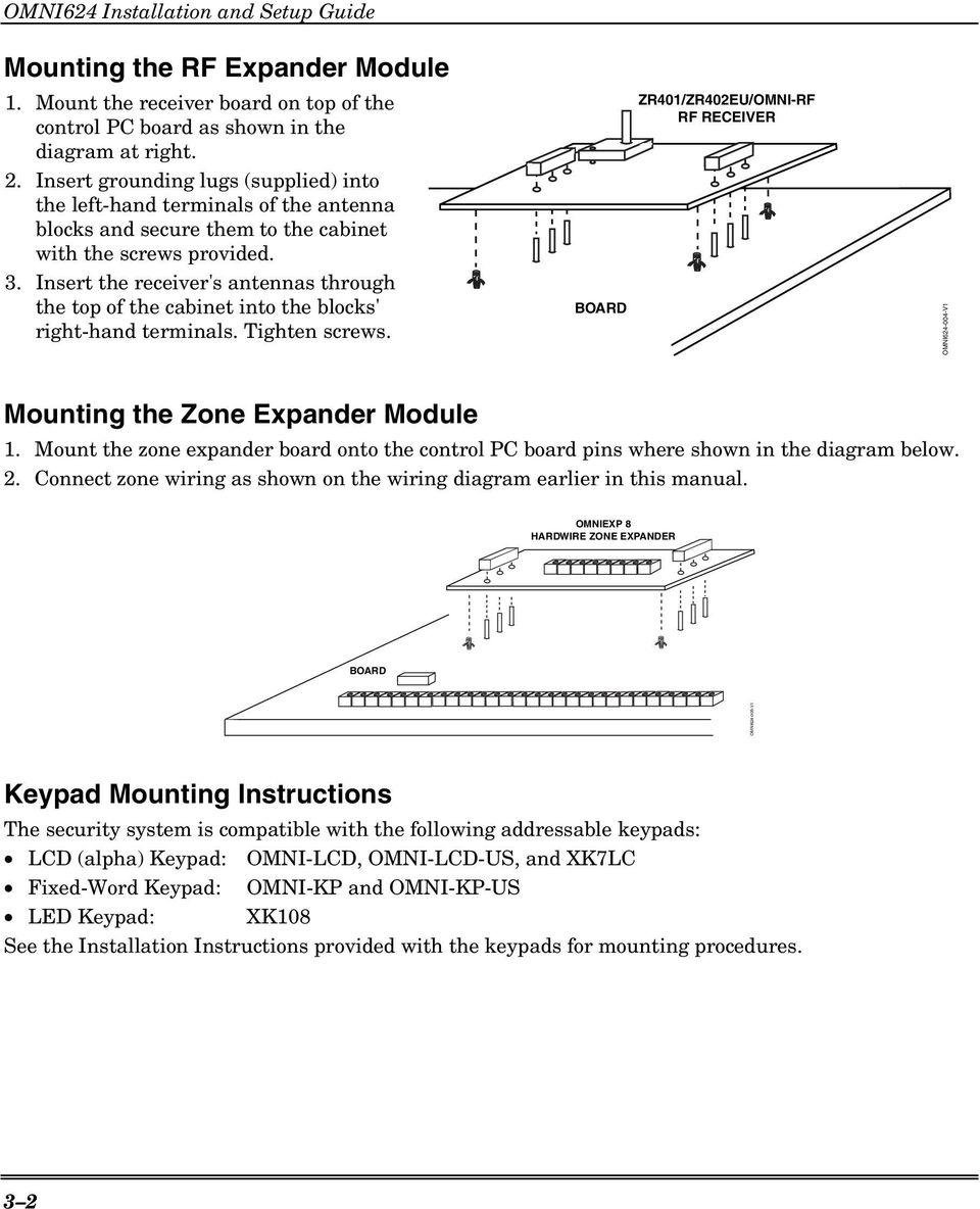 Fbii Security System Omni 624 Version 2x Installation And Setup Wiring Diagram For Keypad Insert The Receivers Antennas Through Top Of Cabinet Into Blocks Right