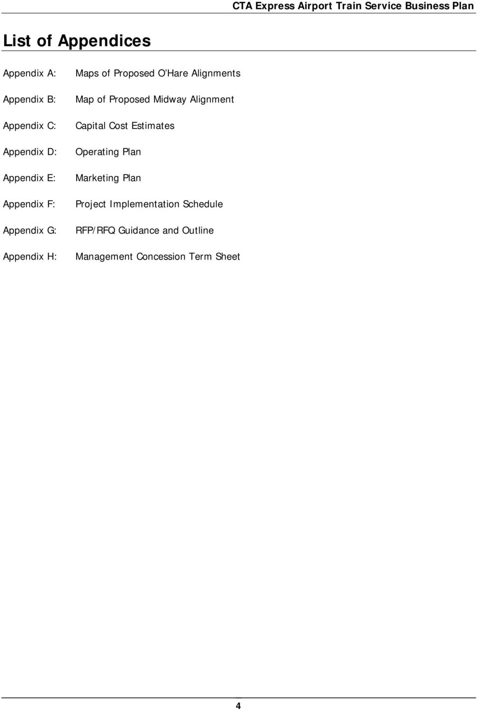 Table of Contents  CTA Express Airport Train Service Business Plan - PDF
