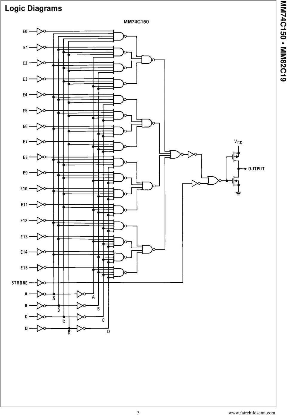 Mm74c150 Mm82c19 16 Line To 1 Multiplexer 3 State Logic Diagram 4 Diagrams Continued