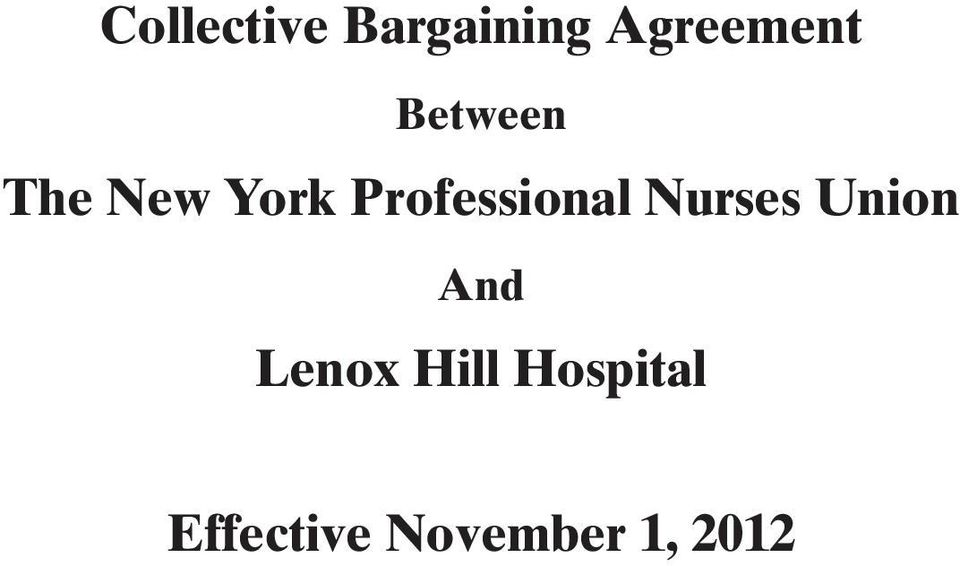 Collective Bargaining Agreement  The New York Professional