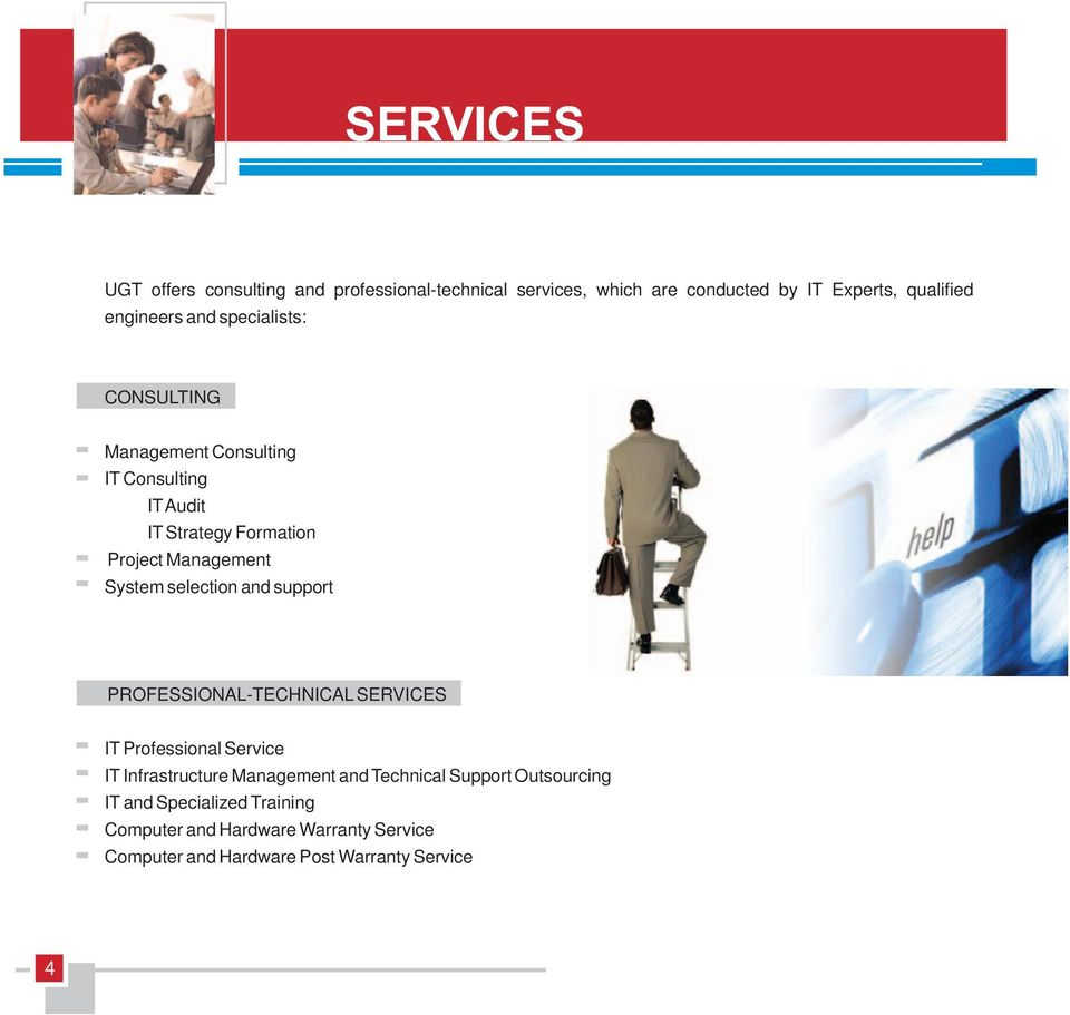 selection and support PROFESSIONAL-TECHNICAL SERVICES IT Professional Service IT Infrastructure Management and Technical