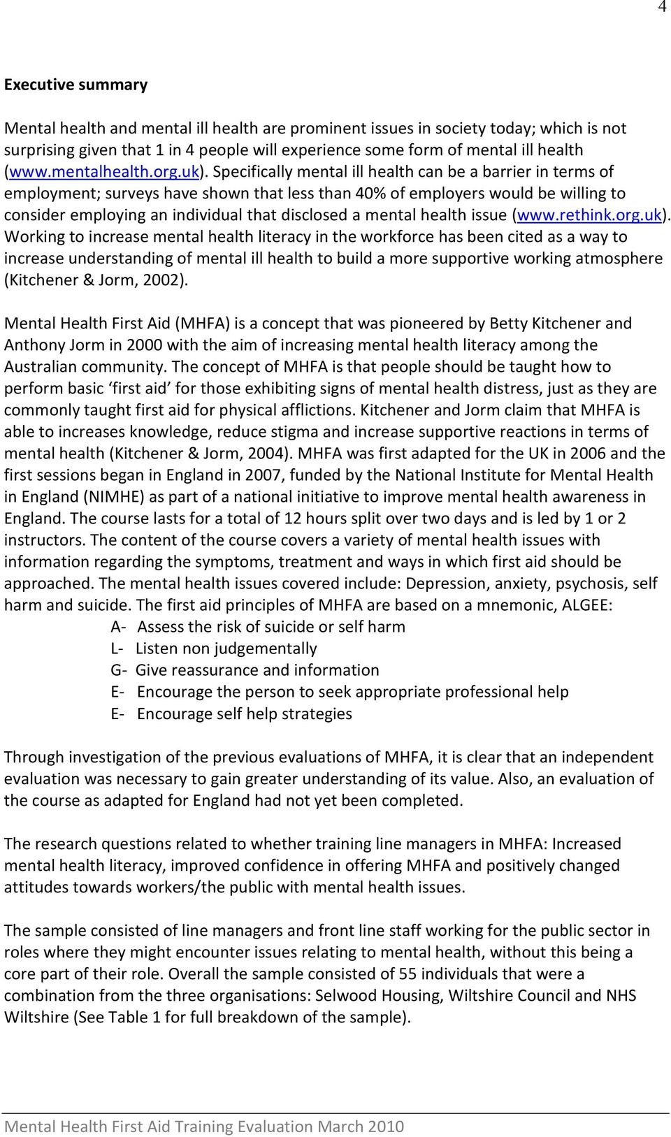 Evaluating Mental Health First Aid Training For Line Managers