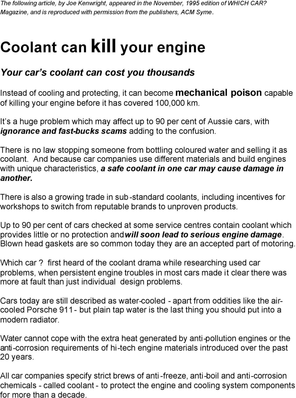 Coolant Can Kill Your Engine Pdf Damage Km It S A Huge Problem Which May Affect Up To 90 Per Cent Of Aussie