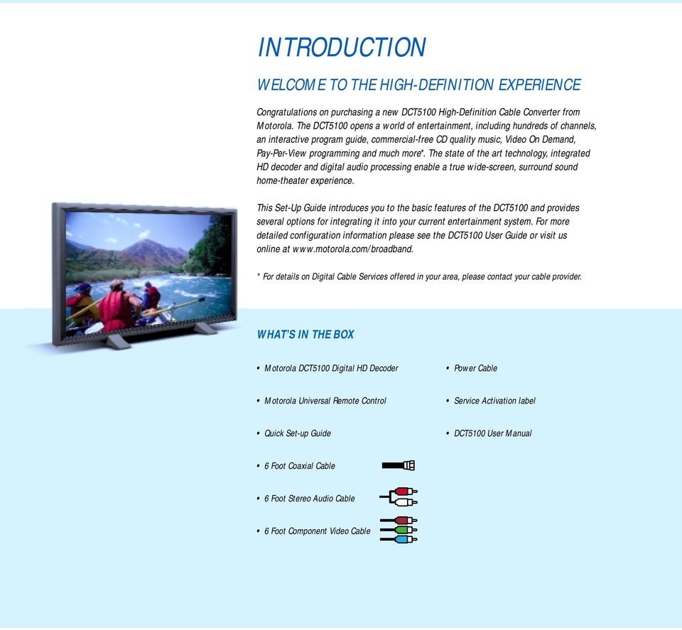 Motorola DCT5100 Set-Up Guide HIGH-DEFINITION TELEVISION - PDF