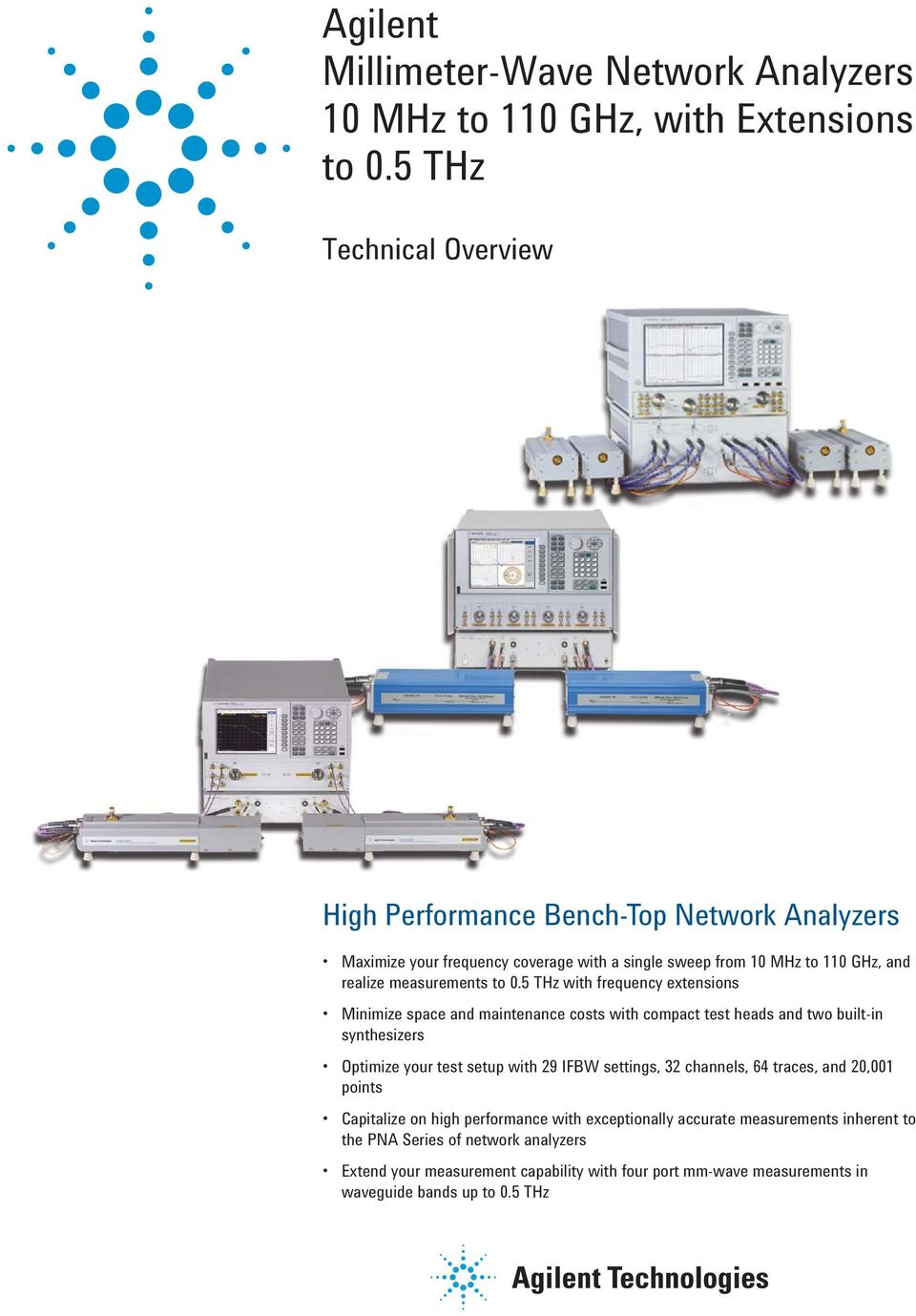 Agilent Millimeter Wave Network Analyzers 10 Mhz To 110 Ghz With Pna X Block Diagram 05 Thz Frequency Extensions Minimize Space And Maintenance Costs Compact Test Heads