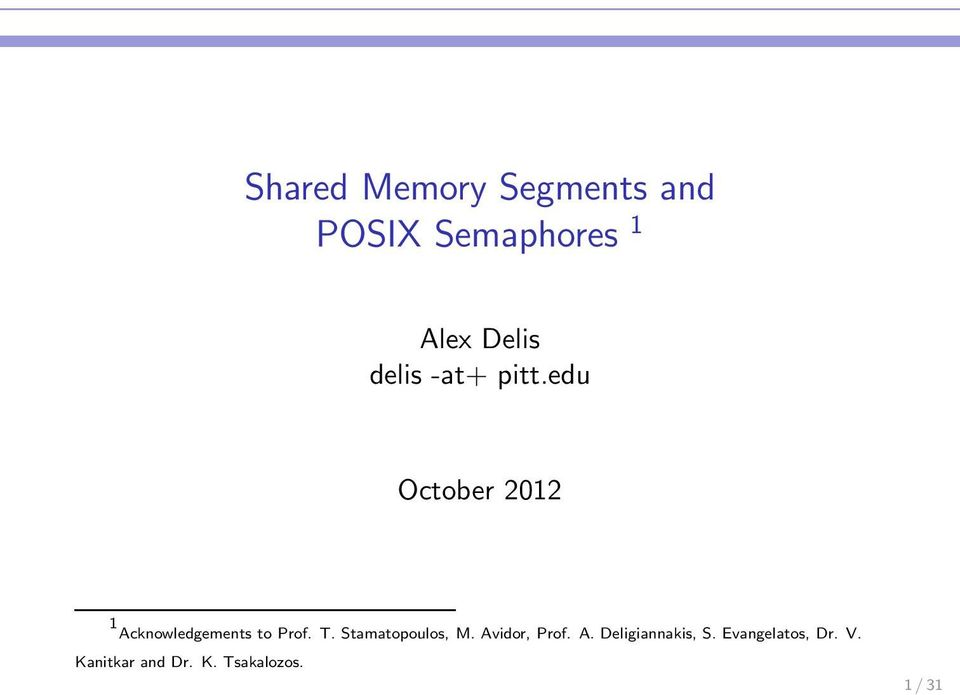 Shared Memory Segments and POSIX Semaphores 1 - PDF