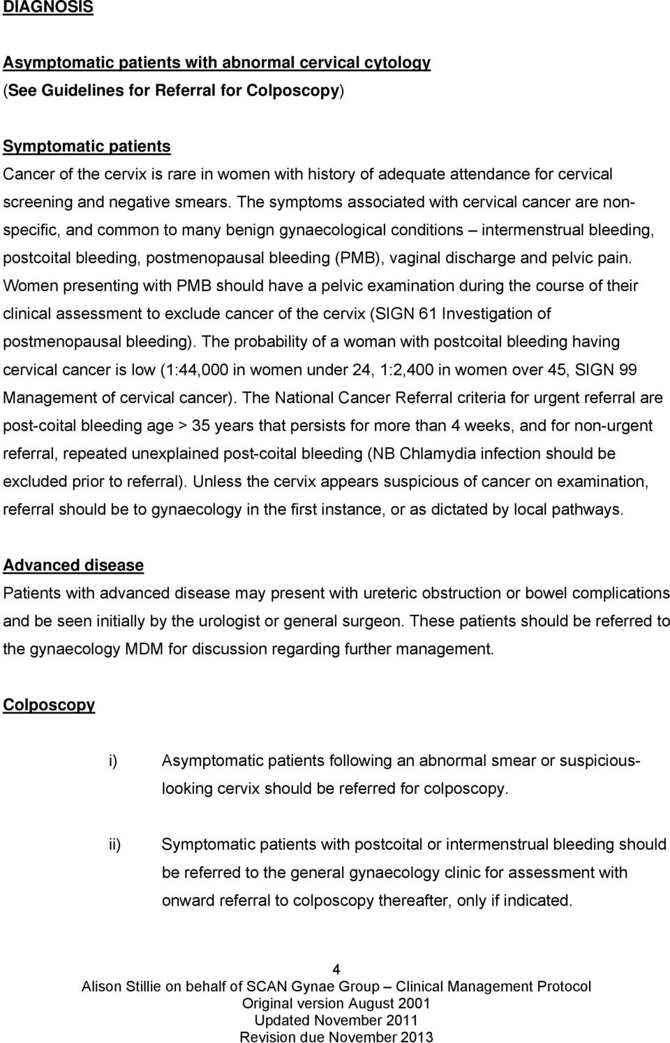 SCAN Gynaecological Group  Clinical Management Protocols