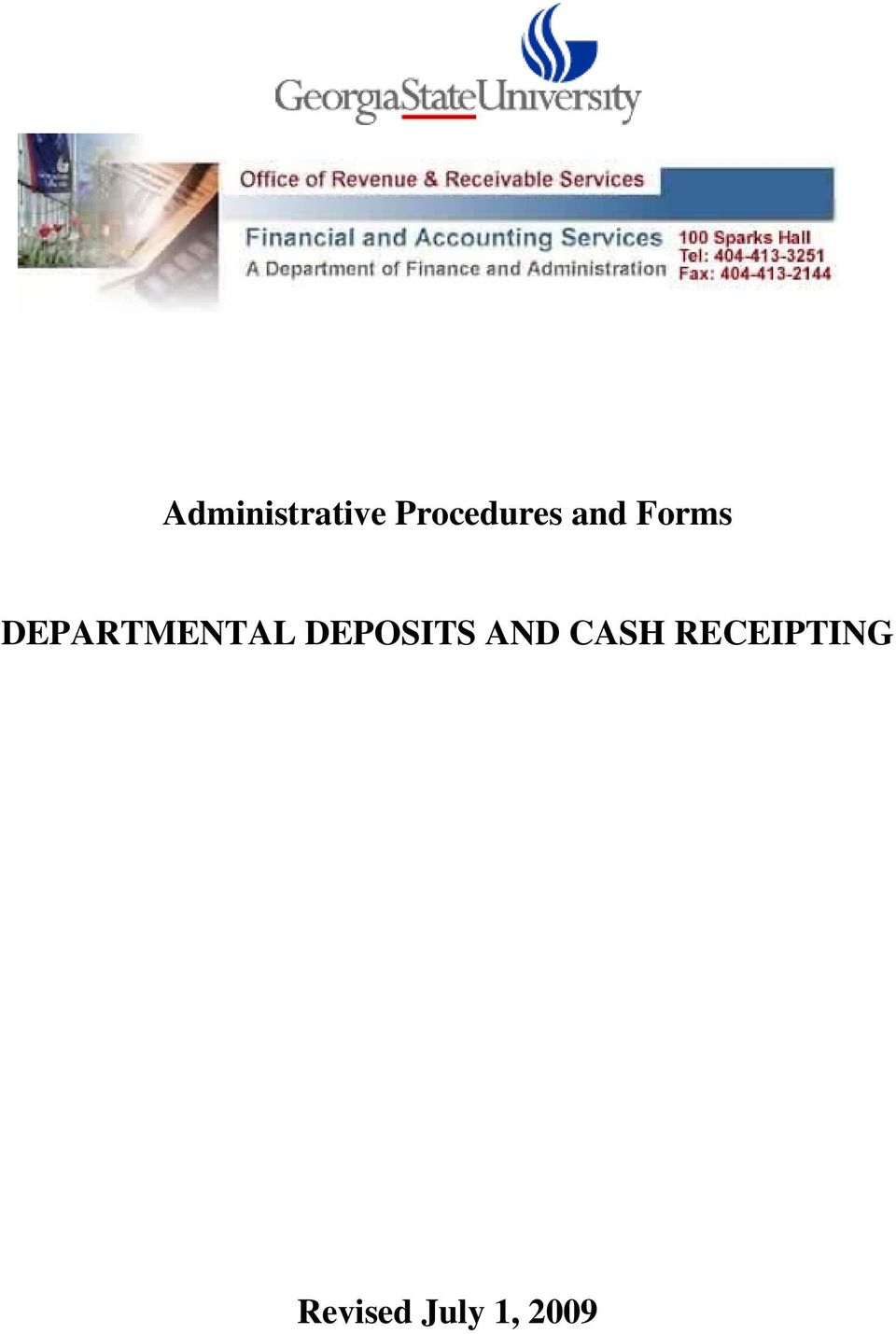 administrative procedures and forms departmental deposits and cash