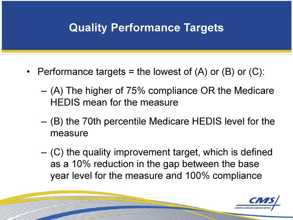 Medicare HEDIS level for the measure (C) the quality improvement target, which is defined