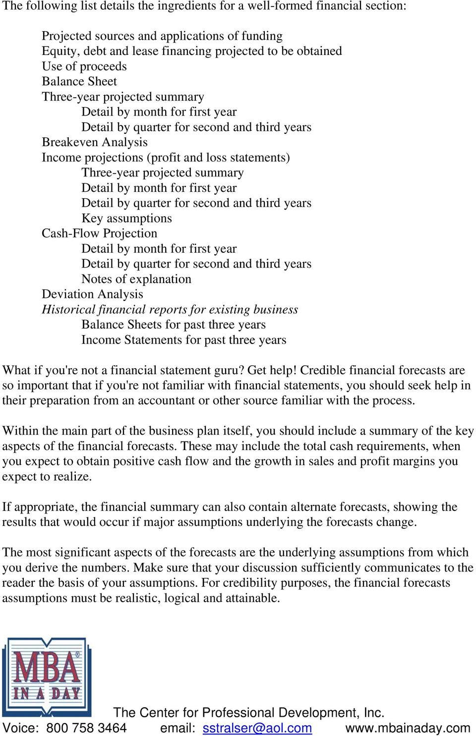the financial analysis for a business plan should contain a forecast of operations