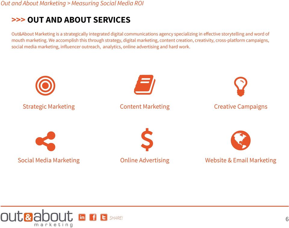 We accomplish this through strategy, digital marketing, content creation, creativity, cross-platform campaigns, social media
