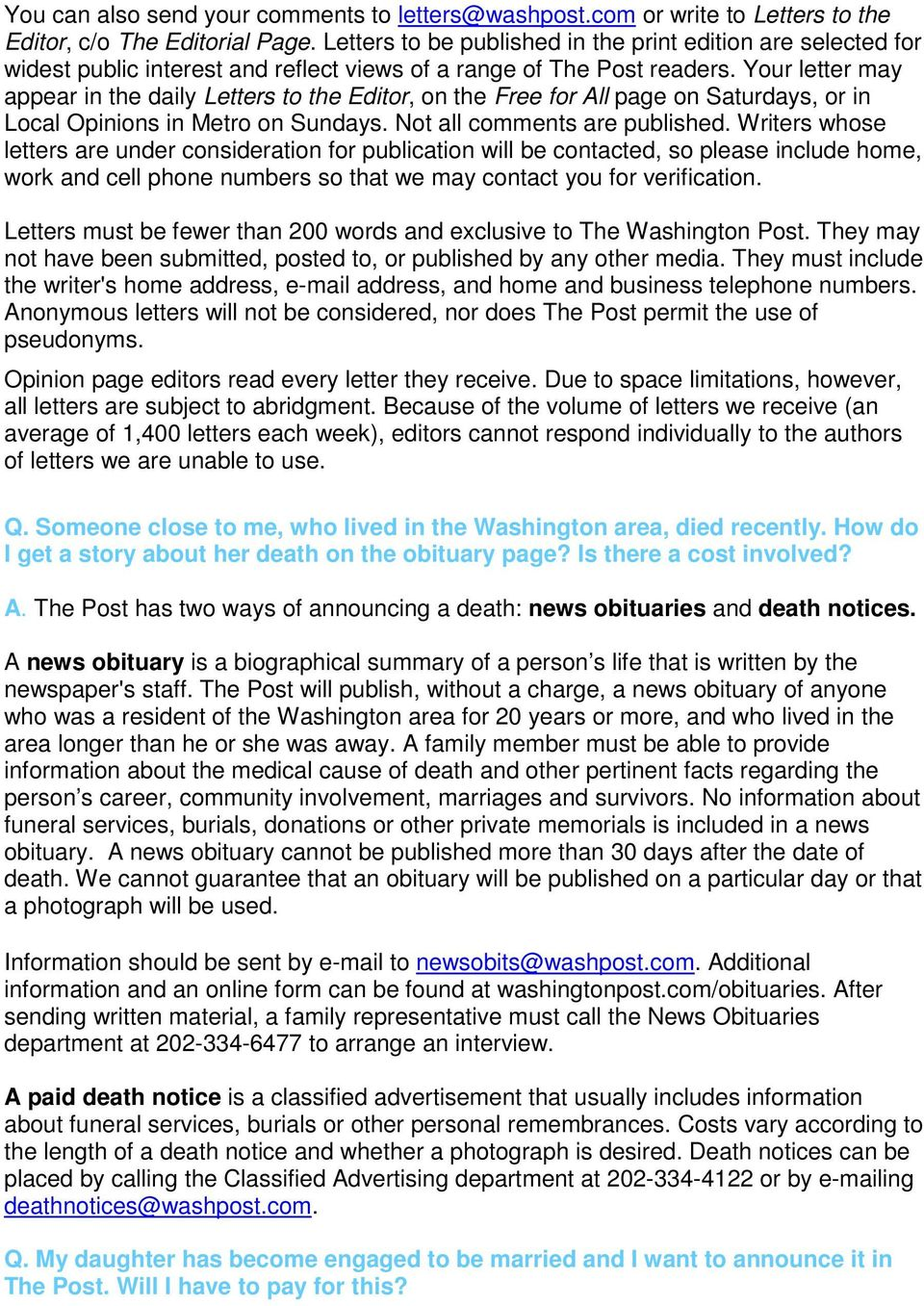your letter may appear in the daily letters to the editor on the free for