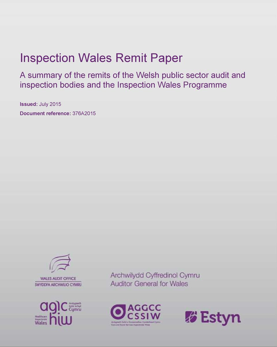 inspection bodies and the Inspection Wales