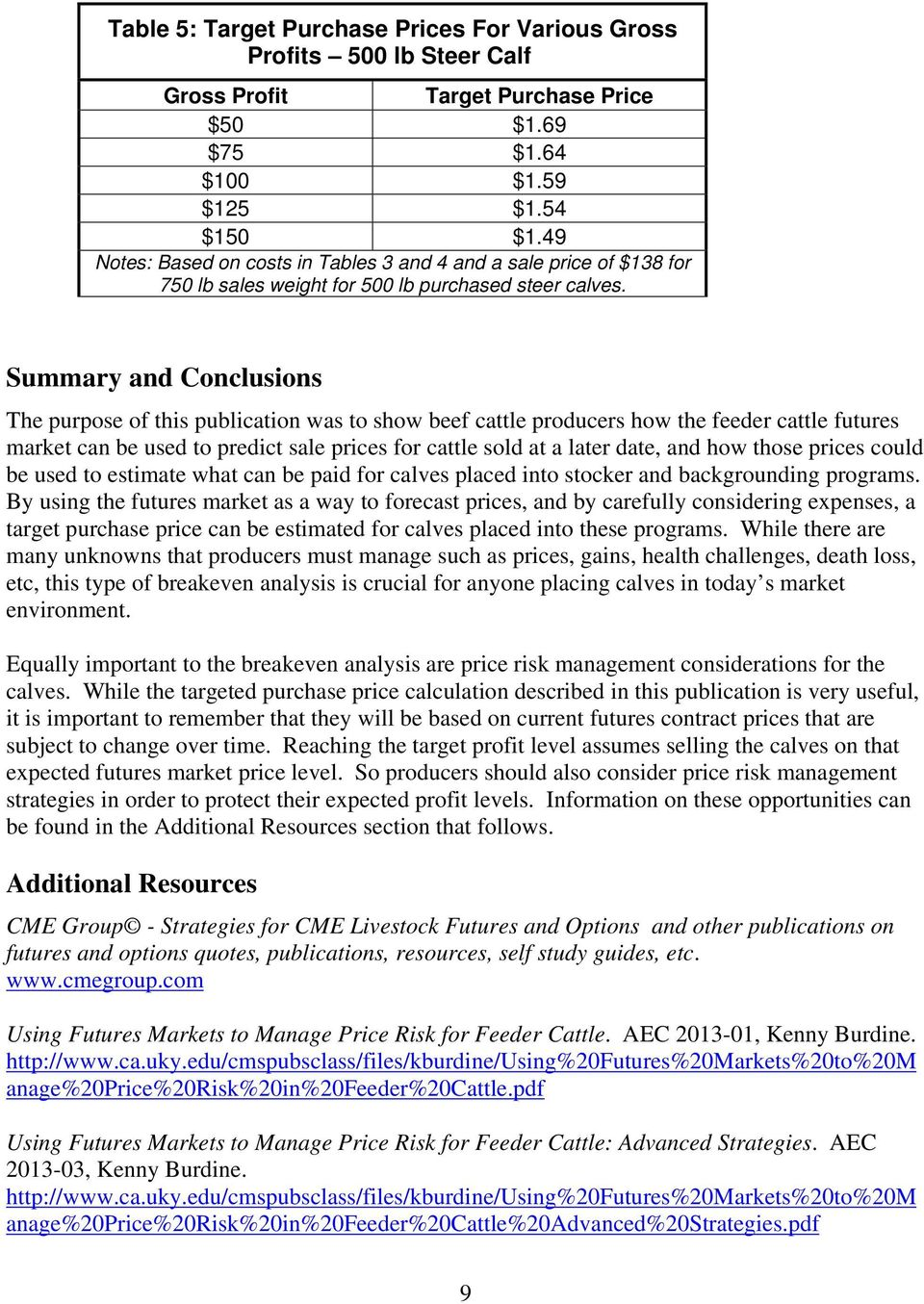 Summary And Conclusions The Purpose Of This Publication Was To Show Beef  Cattle Producers How The