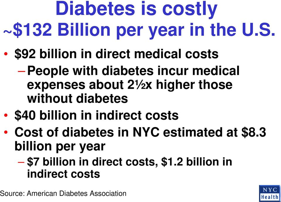 higher those without diabetes $40 billion in indirect costs Cost of diabetes in NYC