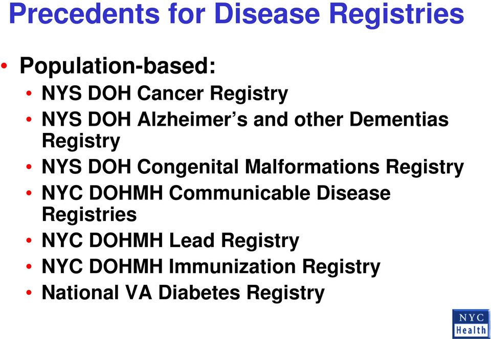 Congenital Malformations Registry NYC DOHMH Communicable Disease