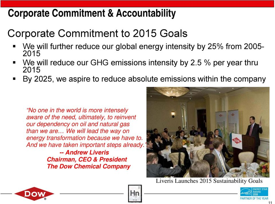5 % per year thru 2015 By 2025, we aspire to reduce absolute emissions within the company No one in the world is more intensely aware of the need, ultimately,