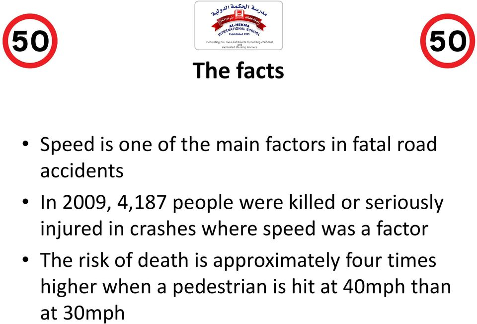 in crashes where speed was a factor The risk of death is
