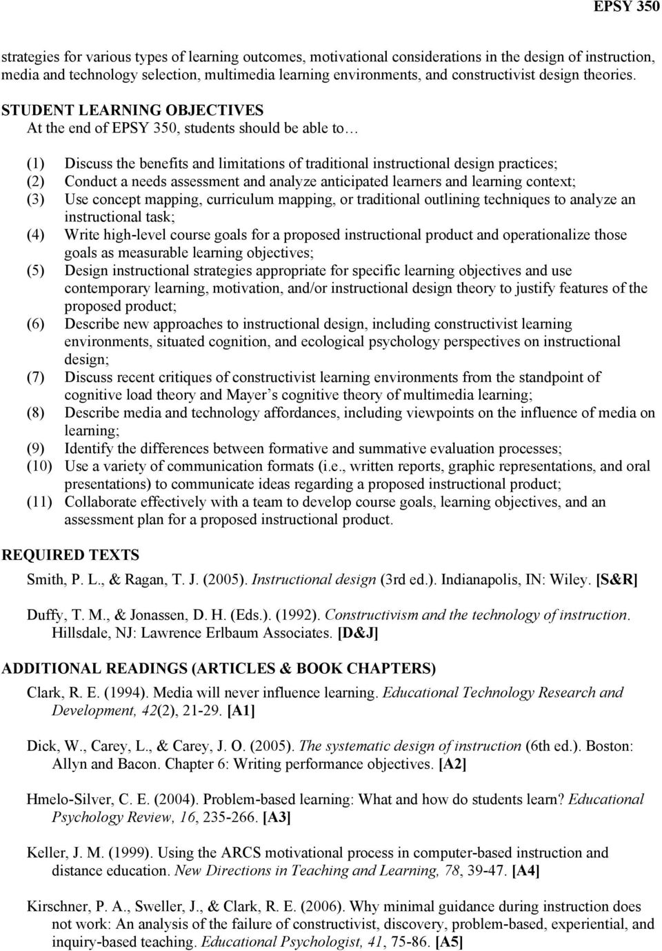 Syllabus Response Epsy 350 Instructional Design Cognition And Instruction Comprehensive Exam Anthony R Artino Jr University Of Connecticut Pdf Free Download