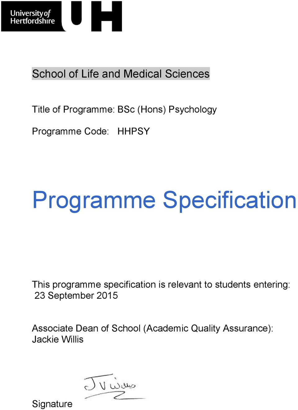 specification is relevant to students entering: 23 September 2015