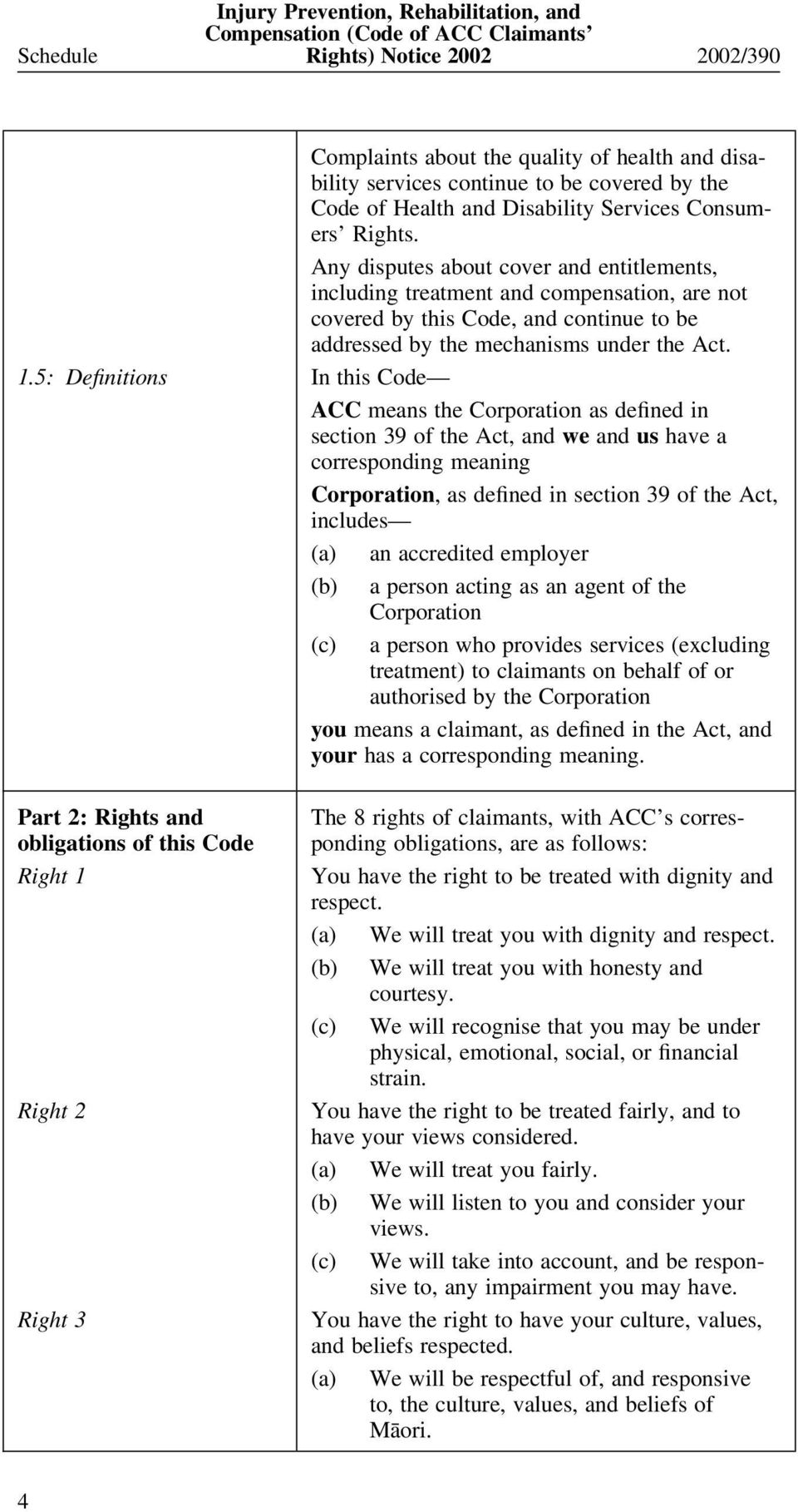 5: Definitions In this Code ACC means the Corporation as defined in section 39 of the Act, and we and us have a corresponding meaning Corporation, as defined in section 39 of the Act, includes (a) an
