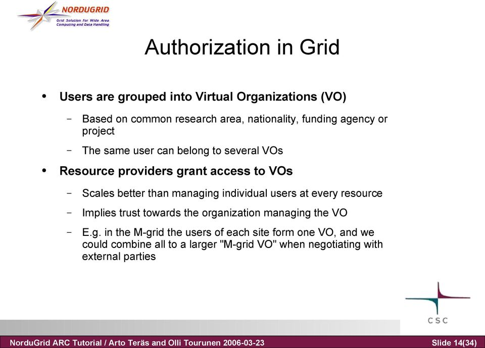 providers grant access to VOs Scales better than managing individual users at every resource Implies trust towards the organization