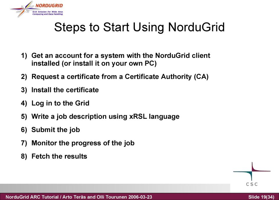a certificate from a Certificate Authority (CA) 3) Install the certificate 4) Log in to the Grid 5) Write a
