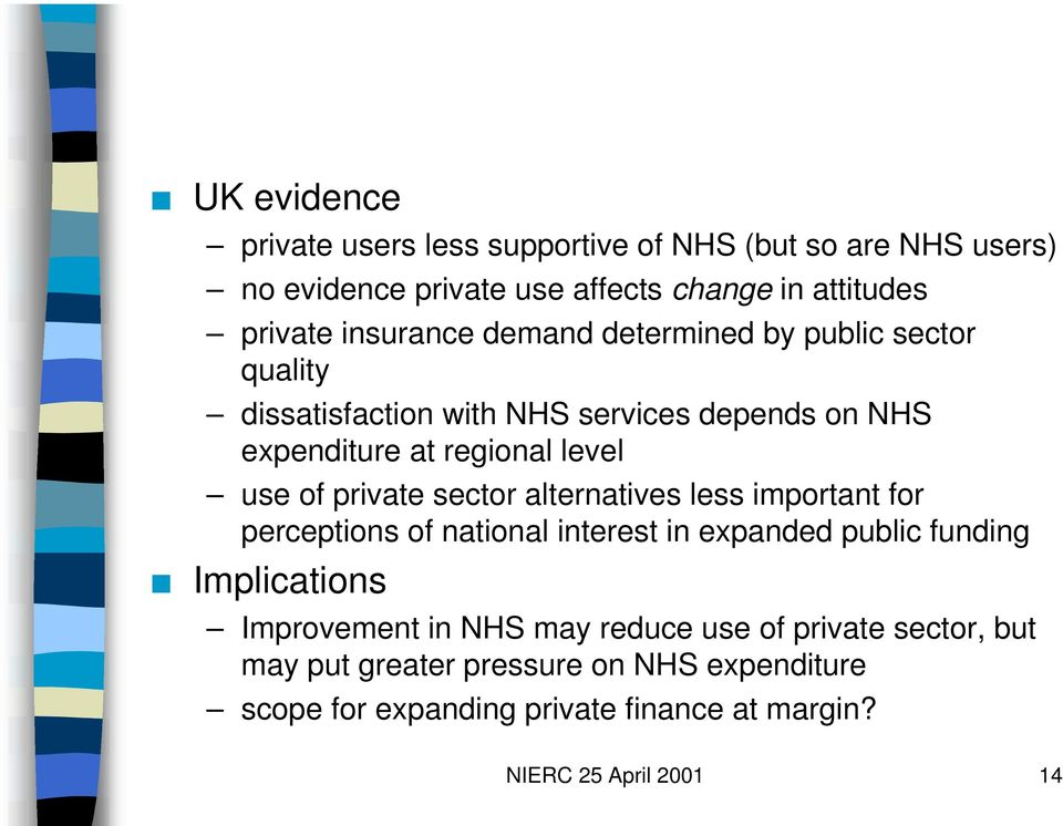 private sector alternatives less important for perceptions of national interest in expanded public funding Implications Improvement in NHS