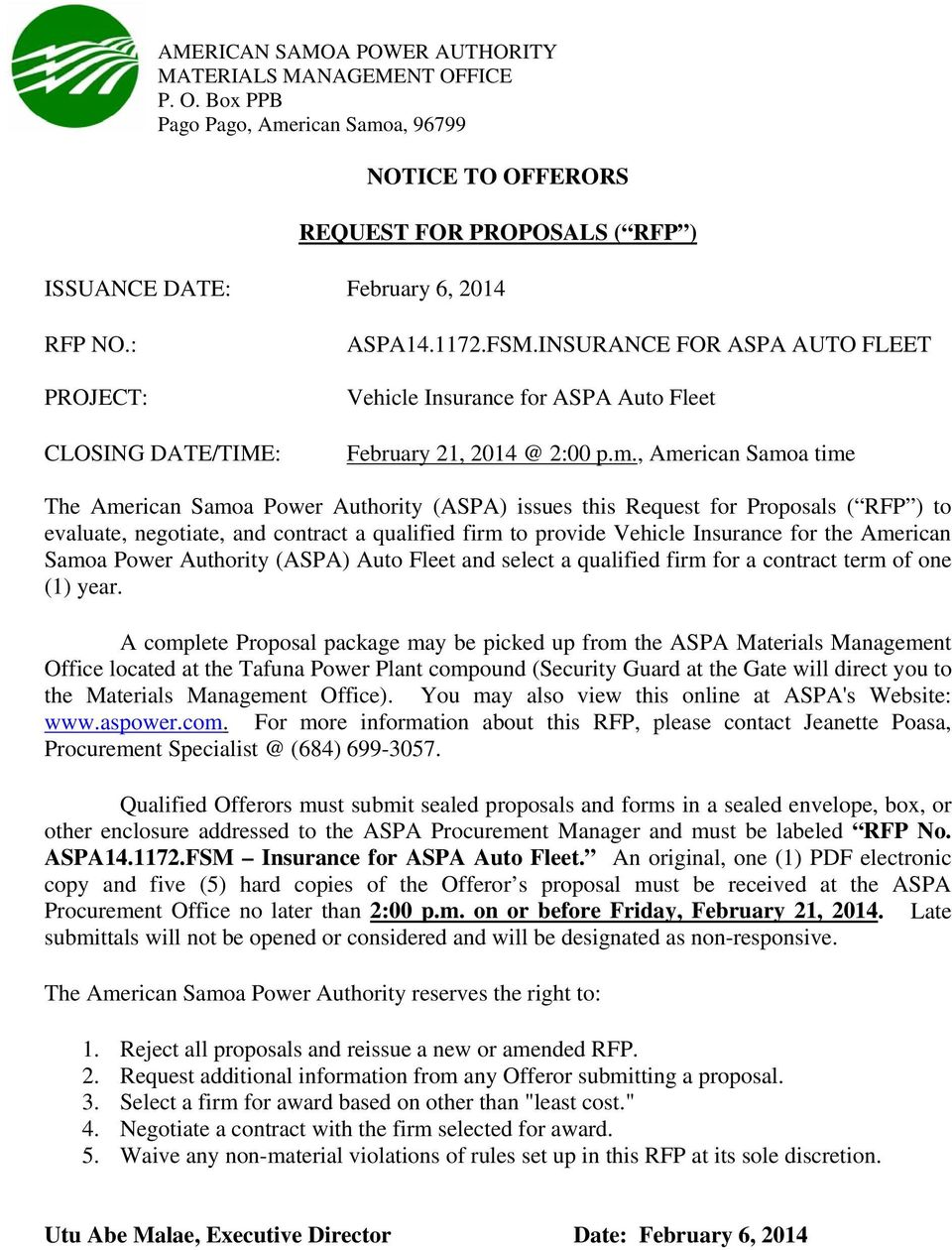 NOTICE TO OFFERORS REQUEST FOR PROPOSALS ( RFP ) ASPA FSM