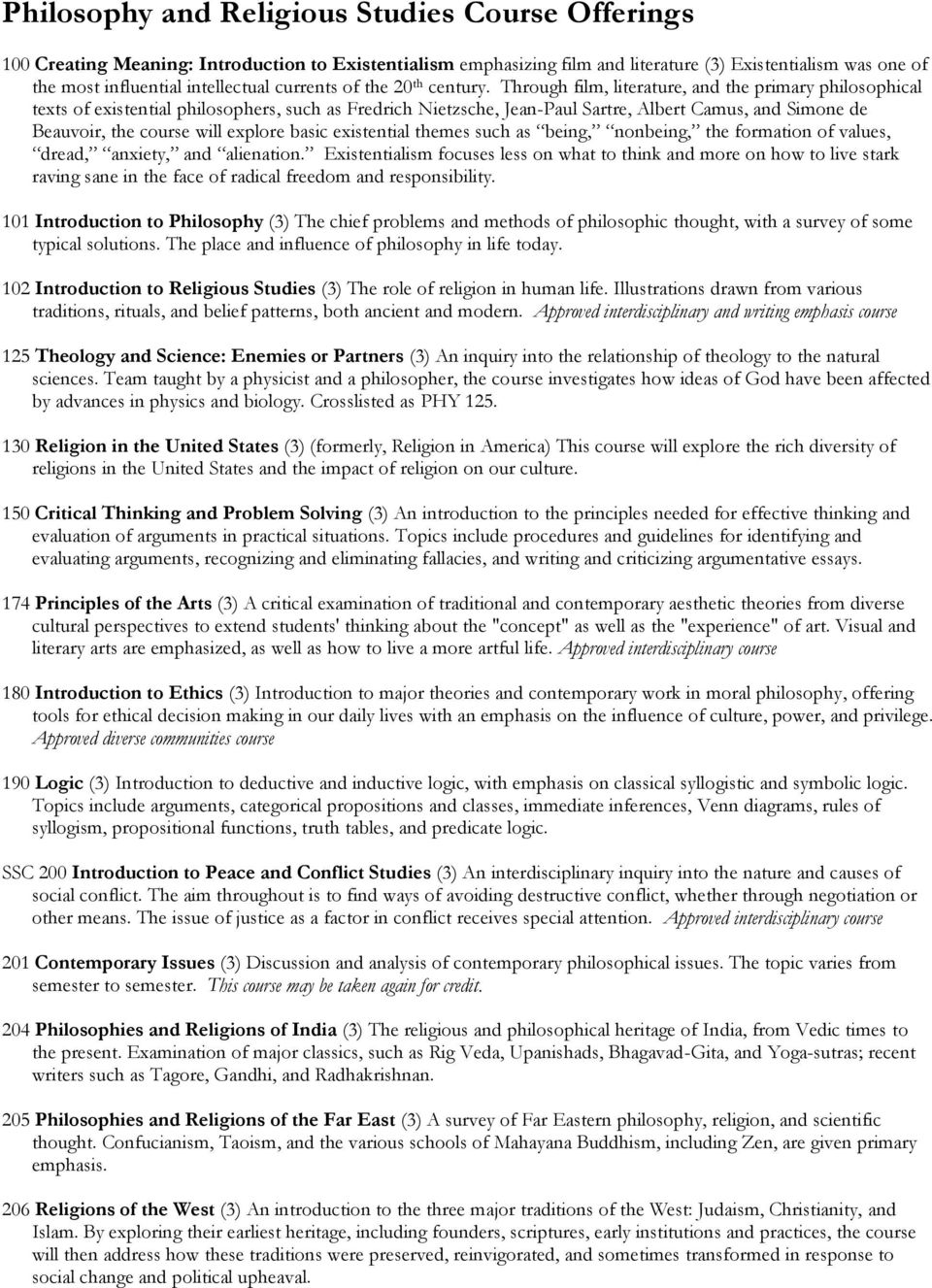Philosophy And Religious Studies Course Offerings Pdf Logic Venn Diagram Problems Through Film Literature The Primary Philosophical Texts Of Existential Philosophers Such As