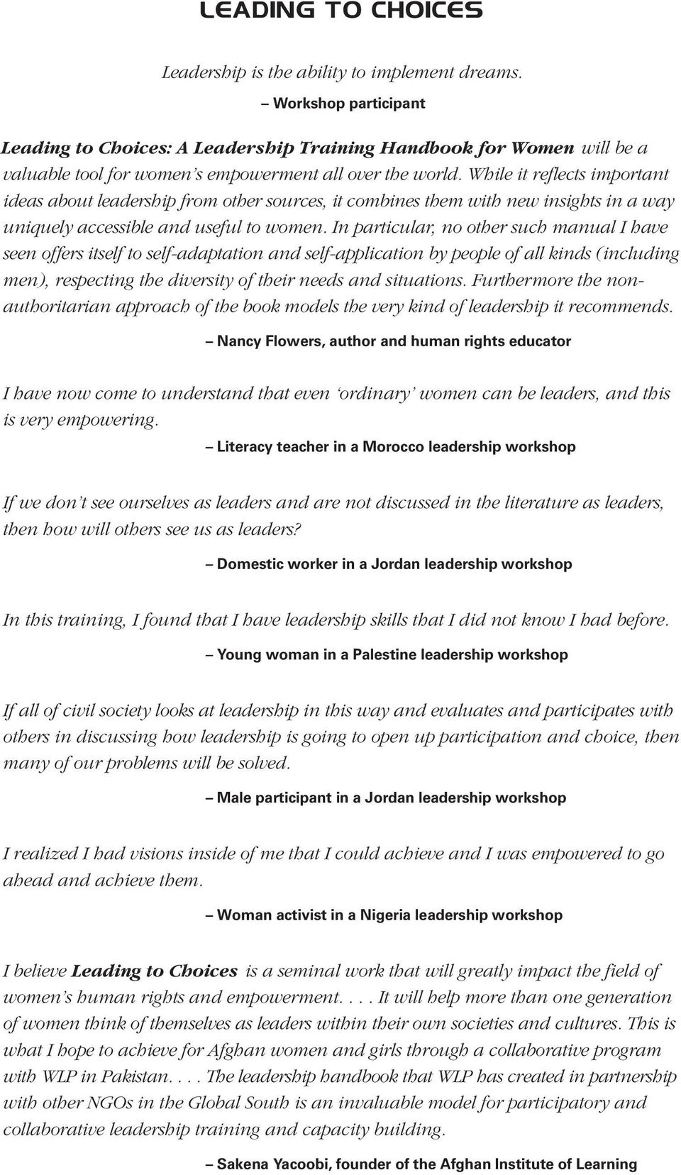 leading to choices. a leadership training handbook for women - pdf
