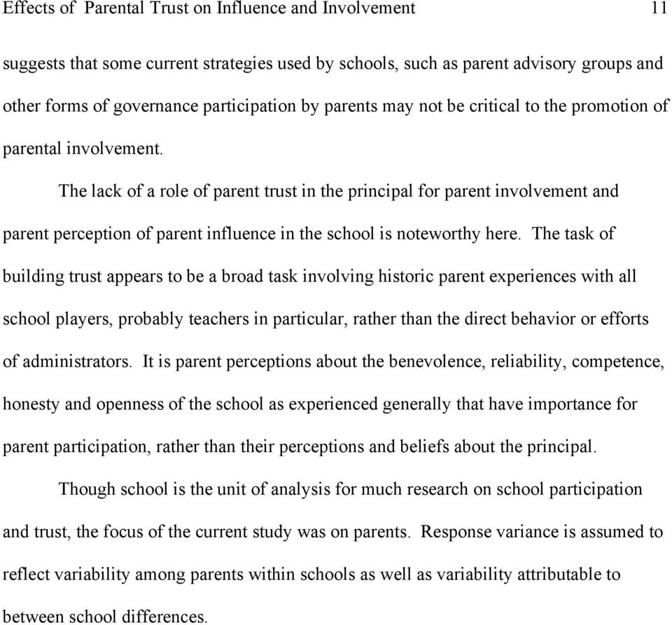 Parent Perceptions May Contribute To >> The Effects Of Parent Trust On Perceived Influence And School