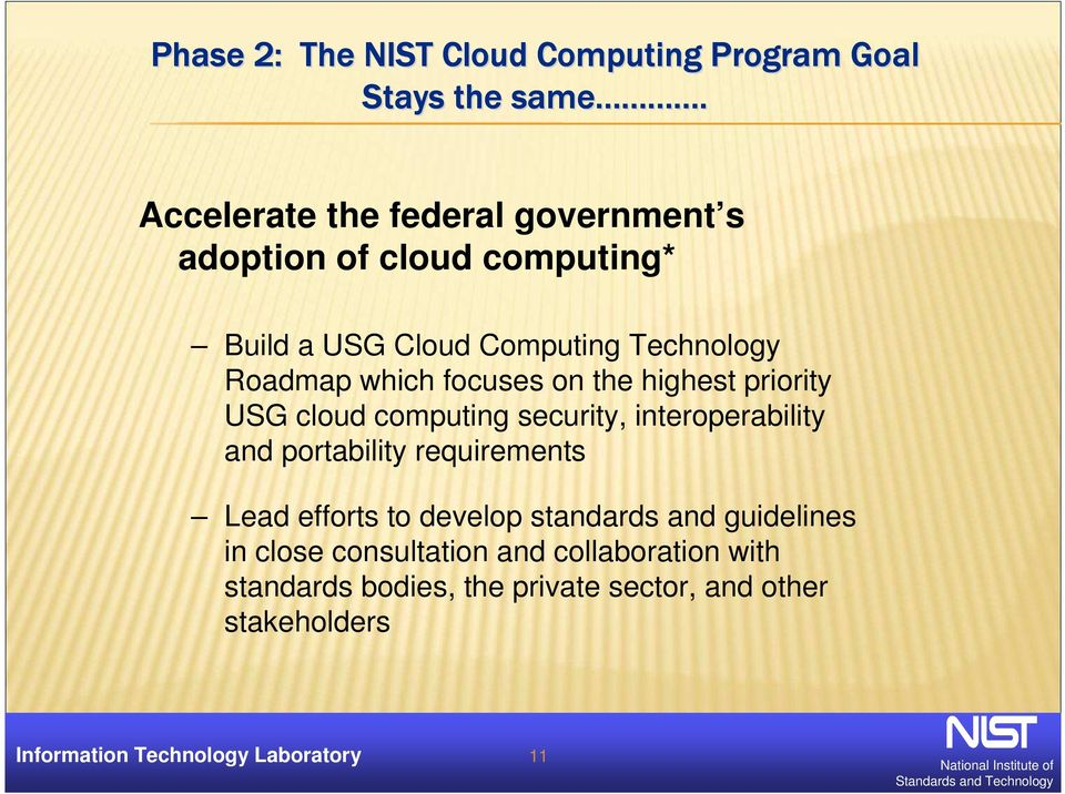 focuses on the highest priority USG cloud computing security, interoperability and portability requirements Lead