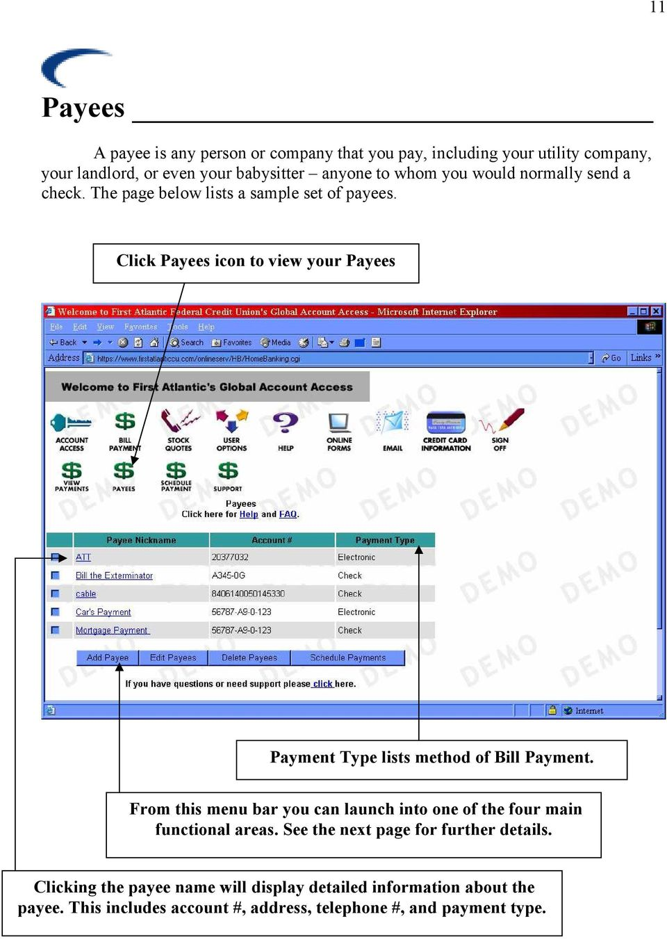 Click Payees icon to view your Payees Payment Type lists method of Bill Payment.