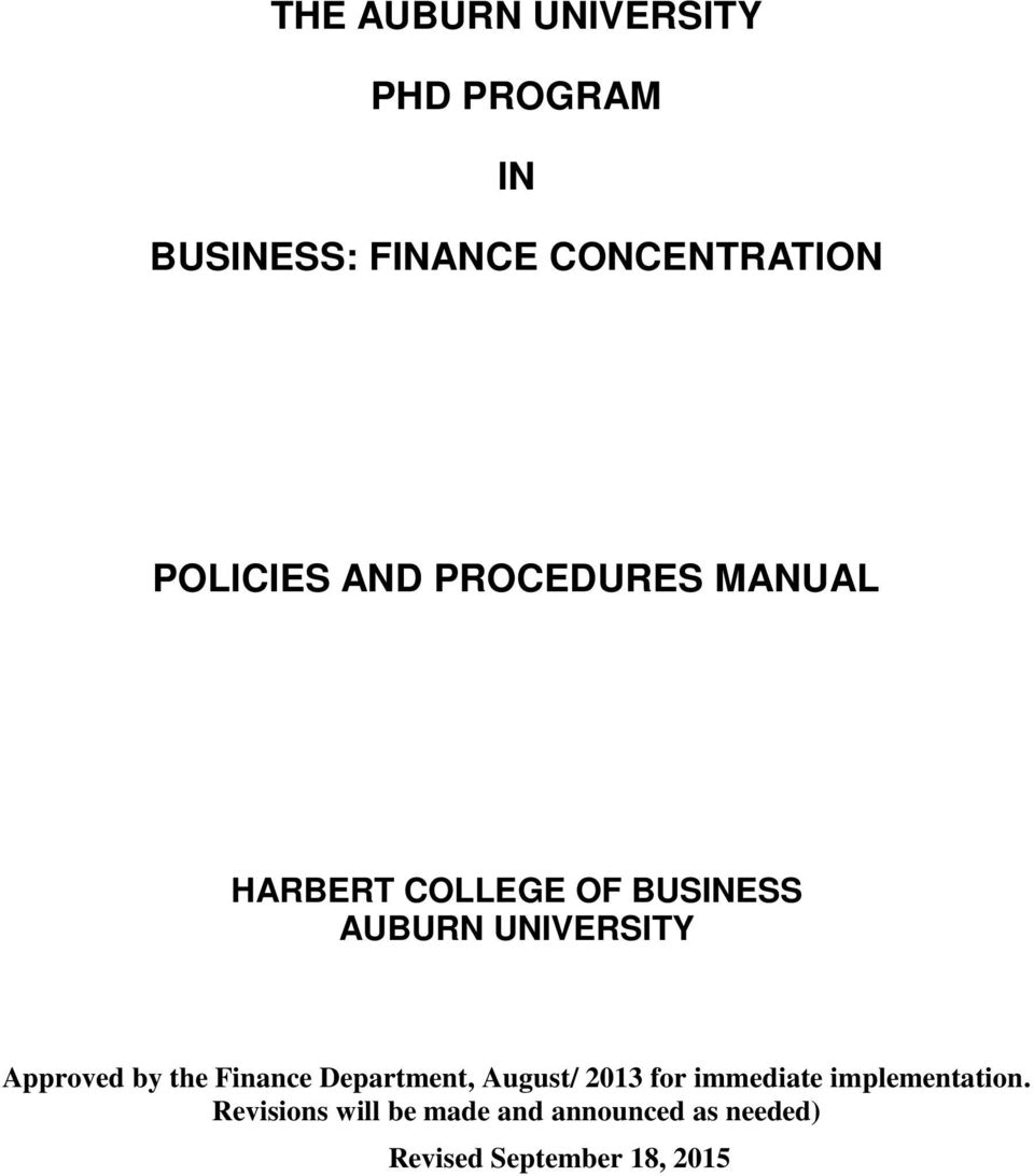 UNIVERSITY Approved by the Finance Department, August/ 2013 for immediate