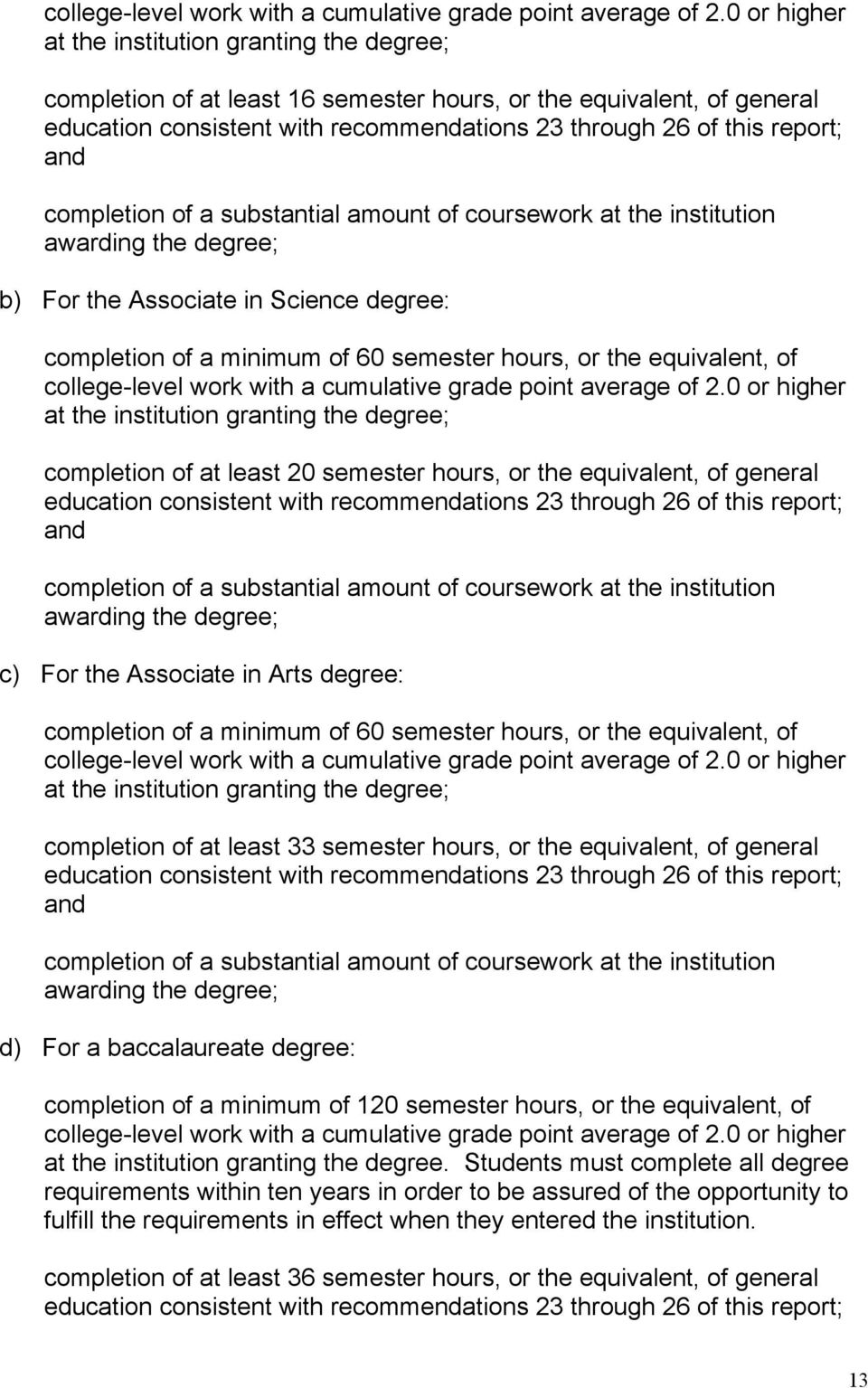 completion of a substantial amount of coursework at the institution awarding the degree; b) For the Associate in Science degree: completion of a minimum of 60 semester hours, or the equivalent, of 0