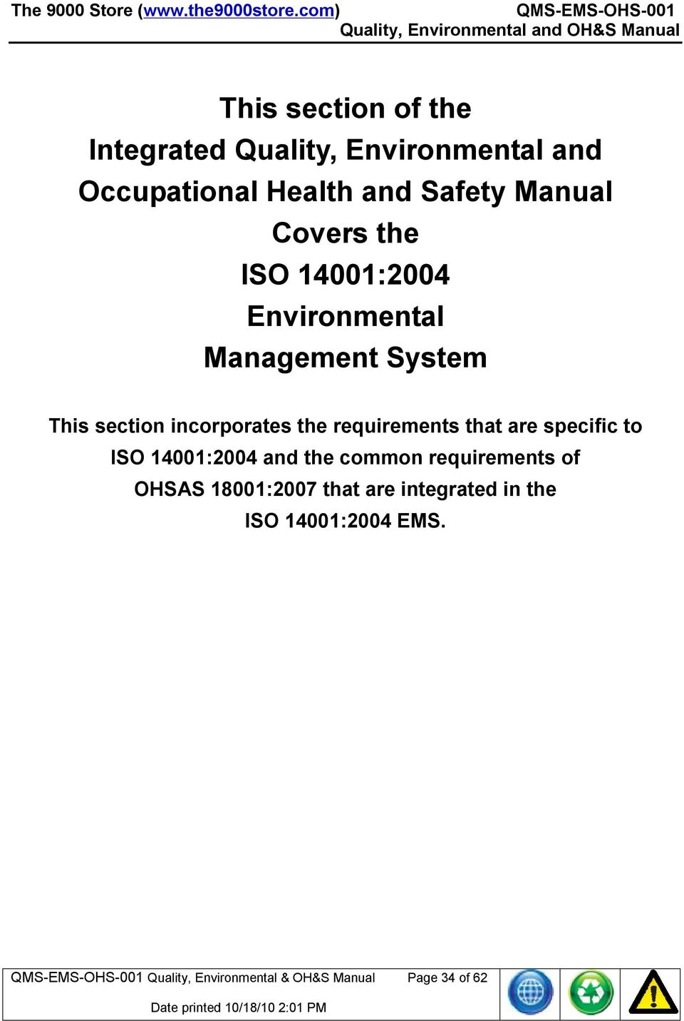 Occupational Health and Safety Manual Covers the ISO 14001:2004  Environmental Management System This section