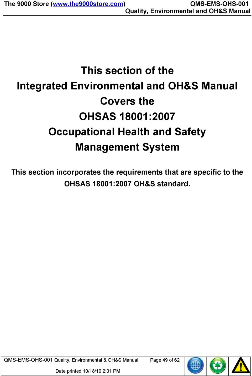 environmental health and safety manual template showing page 3 of 7 Array -  iso ohsas all in one certification package contents pdf rh docplayer net